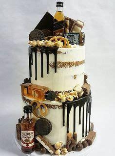 liquor cake  mini alcohol bottles themed birthday cakes   pinterest cake