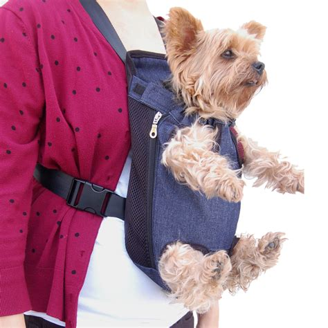 pouch carrier denim blue front kangaroo pouch pet carrier swagger wagger