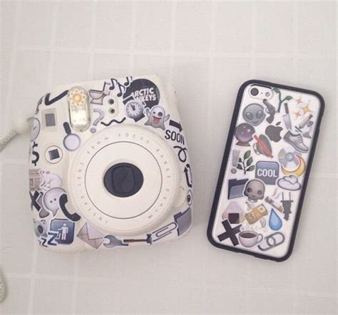 Pastel Marble Softcase white instax mini 8 and iphone covered in a collage