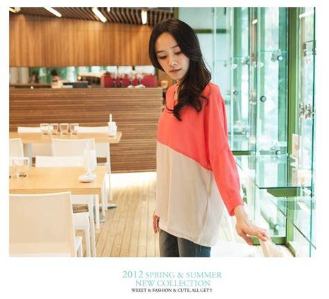 Baju Wanita Baju Atasan Wanita Blouse Marina Sl Murah sbbl262 baju korea orange sleeves two colors blouse hlove shop