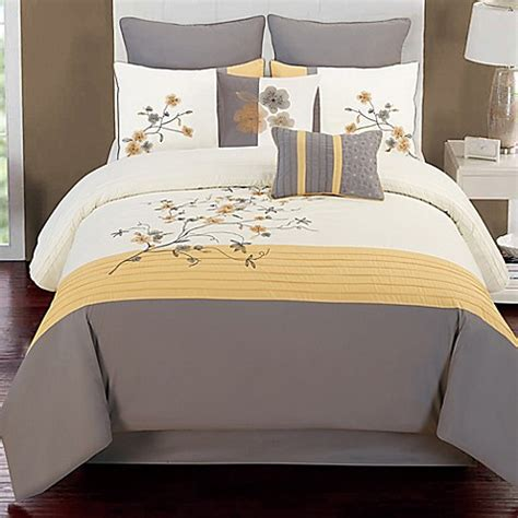 Grey And Yellow Bed Sets Buy Camisha 8 Comforter Set In Yellow Grey From Bed Bath Beyond