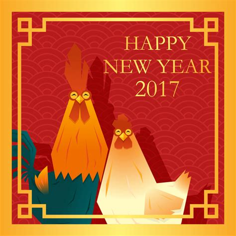 new year 2017 animal happy new year 2017 background with rooster vector 04