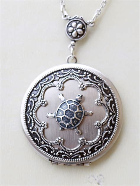 turtle locket silver locket jewelry gift pendant locket