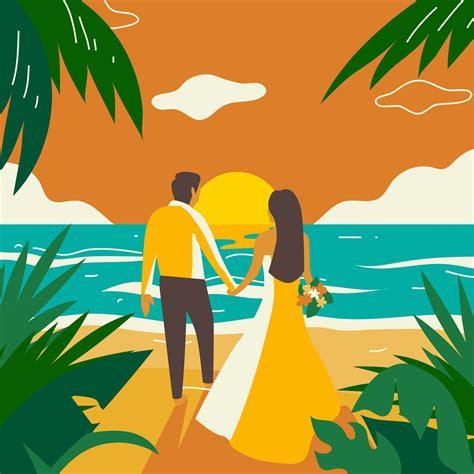 beach wedding sunset vector   vectors