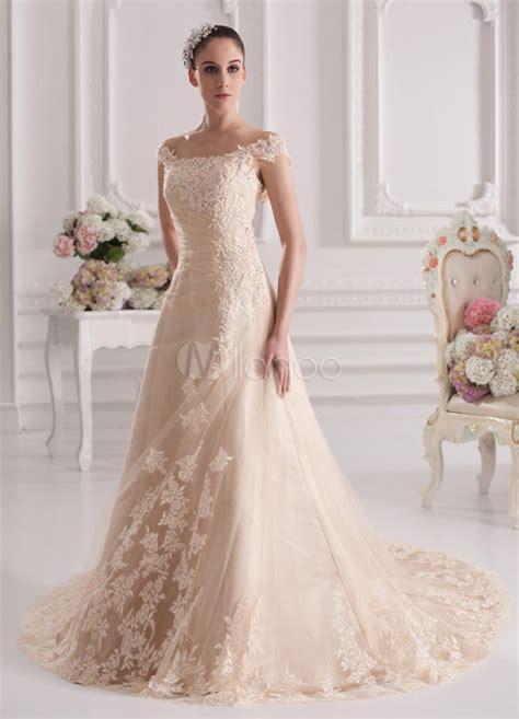 mariage robe a ligne chagne en tulle et col
