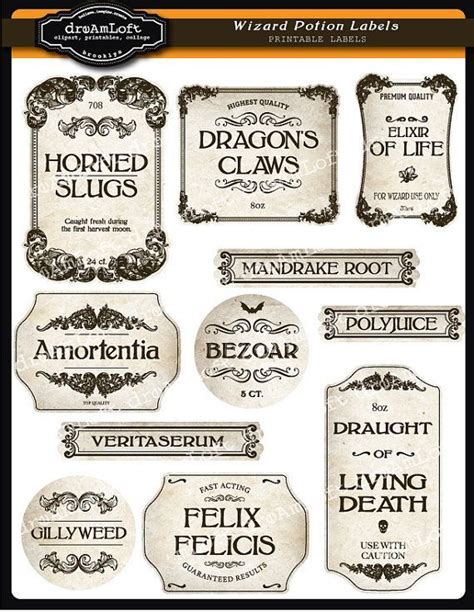 printable ingredient tags wizard potion and halloween apothecary printable frames
