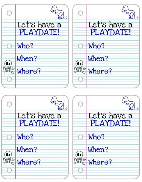 Playdate Cards Printable Template by More Creative Features From Last Week S Punchbowl