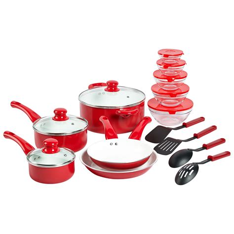 the domestic front kitchen essential cookware and bakeware 17 piece ceramic non stick aluminum cookware set by basic