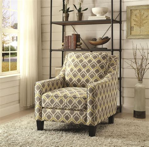 grey and yellow accent chair grey and yellow pattern accent chair from coaster 902428