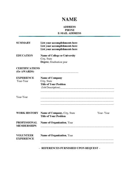 Resume Blank Form Free Free Resume Templates Outline Sle Presentation Within 85 Wonderful