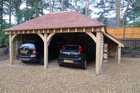 Oak Car Port by Oak Two Bay Car Port With Log Store