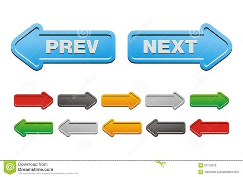 previous next prev and next buttons arrow buttons stock illustration