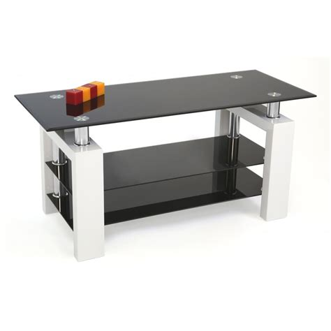 Black Glass Coffee Tables Uk Mfs Furniture Metro Black And White Glass Coffee Tablke Mfs Furniture From Emporium Home