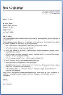 lab technician cover letter sle service technician resume cover letter