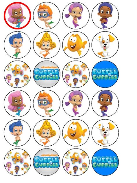 24 x bubble guppies edible wafer cup cake bun cake toppers