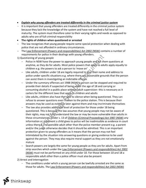 Does A Summary Offense Go On A Criminal Record Crime Notes Year 12 Hsc Studies Thinkswap