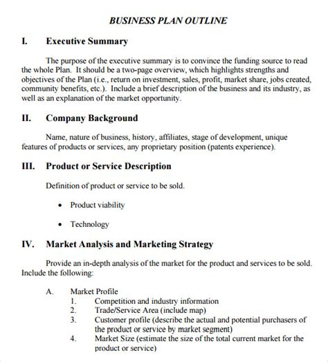 templates for writing a business plan business plan outline template 10 download free