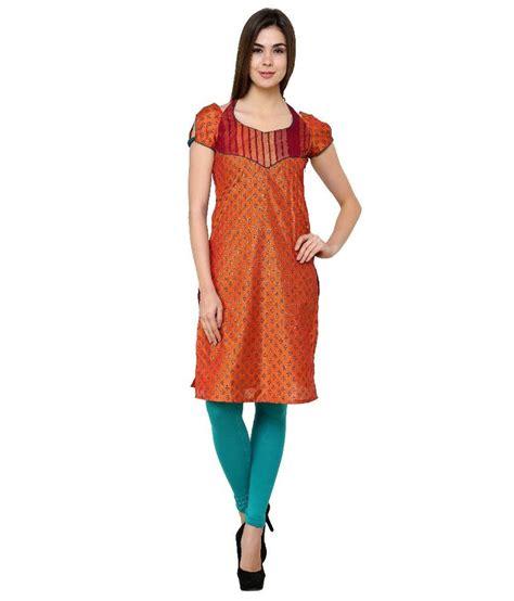 globus orange cotton knitted neck kurti price in zotw orange faux georgette half knitted sweetheart neck kurti price in india buy zotw orange