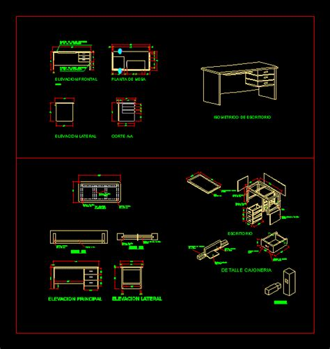 wooden desk  autocad  cad   kb