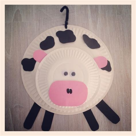 Paper Plate Cow Craft - paper plate cow church