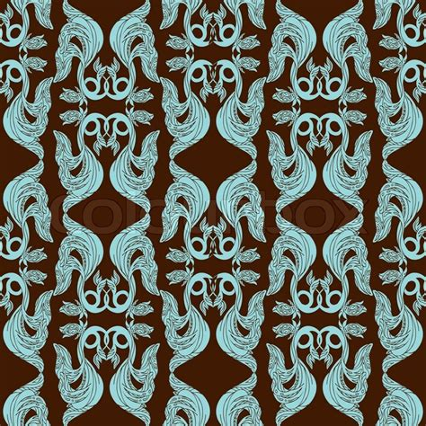 pattern blue brown abstract damask background fashion seamless pattern