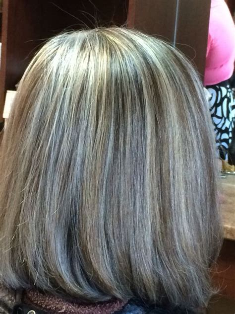 hightlight in stip of front grey hair hilight blend my work pinterest grey hair