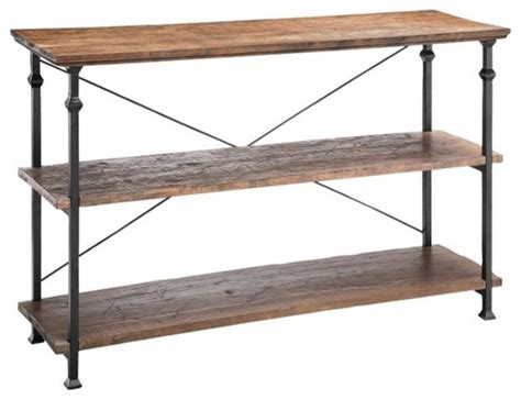 poplar estates 3 shelf console table industrial