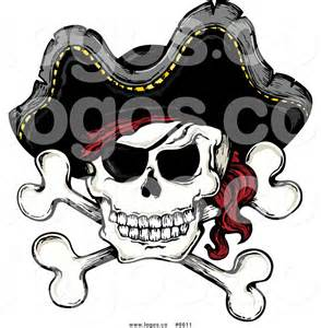 royalty free clip art vector logo of a jolly roger pirate