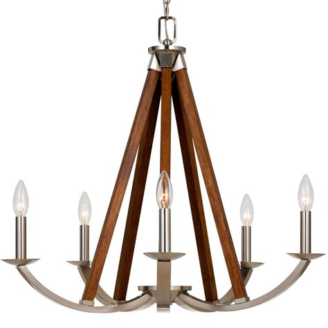 Steel Chandelier Brushed Steel Wood Chandelier 24 Quot Wx26 Quot H Fx 3604 5