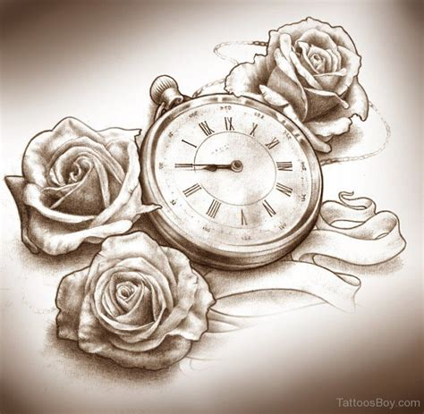 clock and rose tattoos clock designs pictures