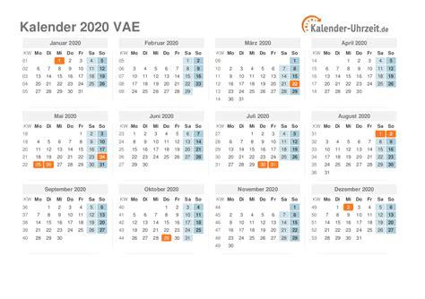 feiertage  vae kalender uebersicht