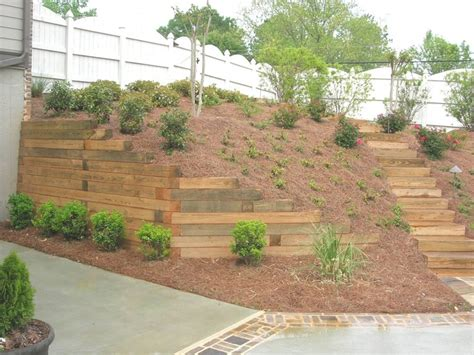 timber retaining wall outdoors pinterest