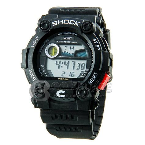 Led Sport Watches Aa W027 White skmei 0907 unisex led pu analog digital quartz sport