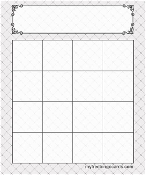 Blank Bingo Card Template 4x4 by Bingo Card Templates Cards Bingo Template Bingo And