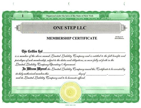 Custom Stock Certificates Llc Certificate Template