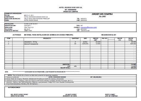 formulario orden de compra formato orden de compra office formats
