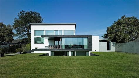 rectangle house sleek modern white split level house design home