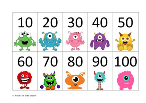 printable number cards multiples of 10 monster number cards by jufrobin teaching resources tes