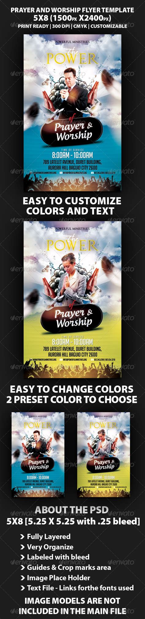 The Power Of Prayer And Worship Flyer Sourcecodes Pro Prayer Flyer Template