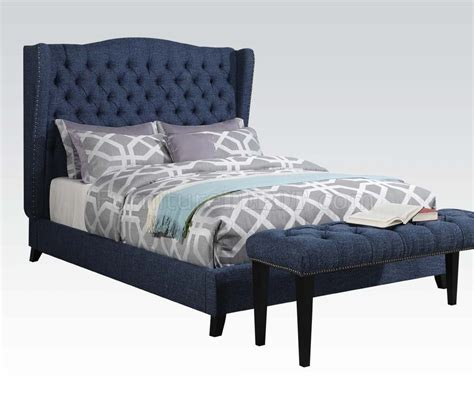 blue upholstered bed 20880 faye upholstered bed in blue fabric by acme