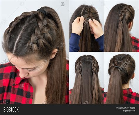 easy braided hairstyles for long hair step by step simple braided hairstyle tutorial image photo bigstock