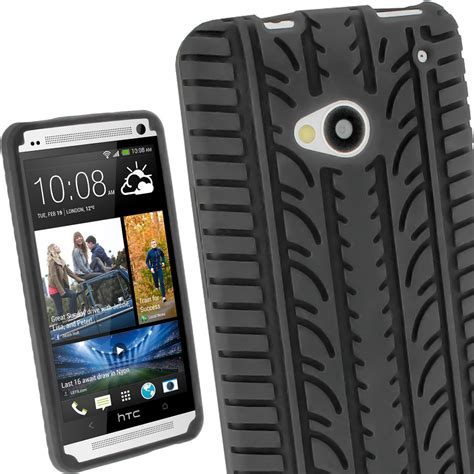 igadgitz black silicone skin cover with tyre tread design for htc one m7 screen protector