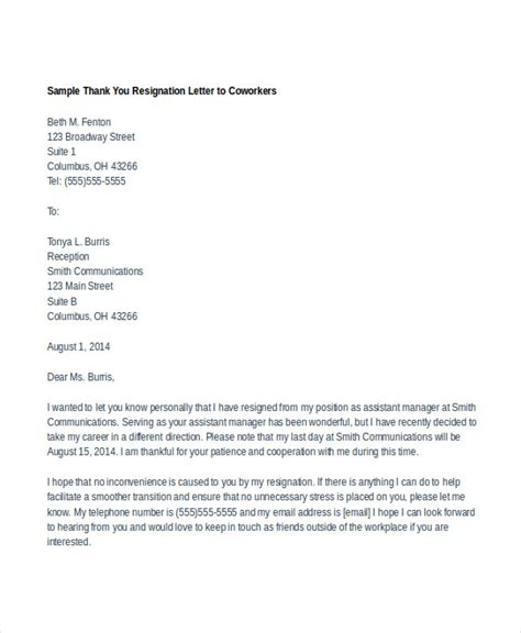 Thank You Letter Of Resignation Doc 585560 Resign Thank You Letter 20 Thank You Letter To Templates Free Sle Exle