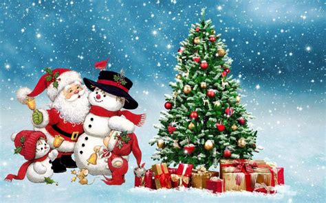 download christmas santa gifts and tree wallpaper for
