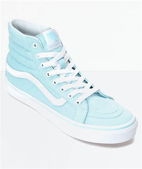 light blue vans high tops vans sk8 hi slim blue white canvas shoes womens