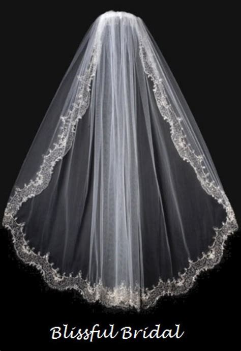 beaded veil embroidered beaded edge wedding veil vintage wedding veil