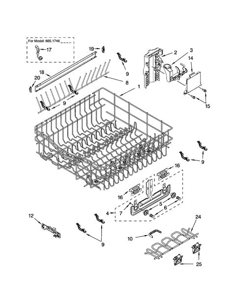 Kenmore Dishwasher Rack Replacement by Rack And Track Diagram Parts List For Model 66517464300 Kenmore Parts Dishwasher Parts