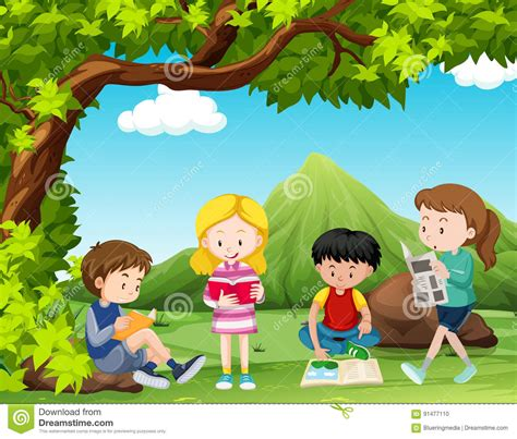 the art of children s picture books tree houses four kids reading books under the tree stock illustration