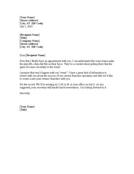 Confirmation Letter Event Free Meeting Confirmation Letter Template Office Templates Letter Templates