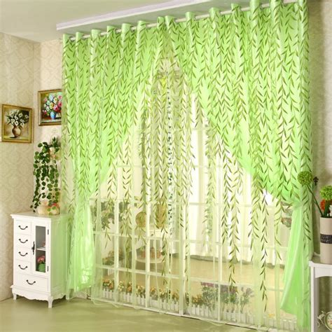 1pcs green willow sheer curtain for living room window pastoral window curtains set for living room printed green
